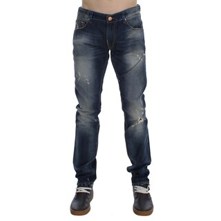 ACHT Blue Wash Torn Cotton Slim Skinny Fit Jeans