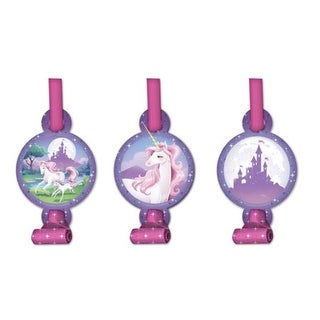 Club Pack of 48 Unicorn Fantasy Classic Pink and Patel Purple Blowout Noisemaker Party Favors with Medallions