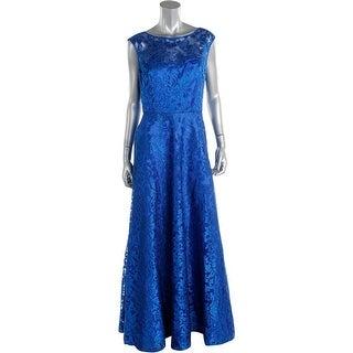 Aidan Mattox Womens Metallic Tulle Evening Dress