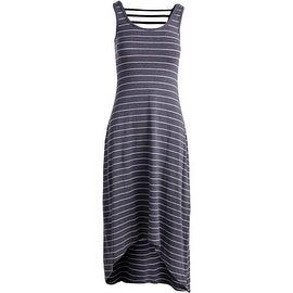 Marc New York by Andrew Marc Womens Maxi Striped Performance Dress Gray S