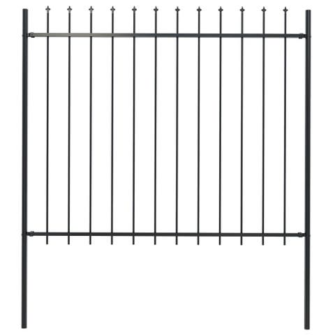"vidaXL Garden Fence with Spear Top Steel 66.9""x59.1"" Black"