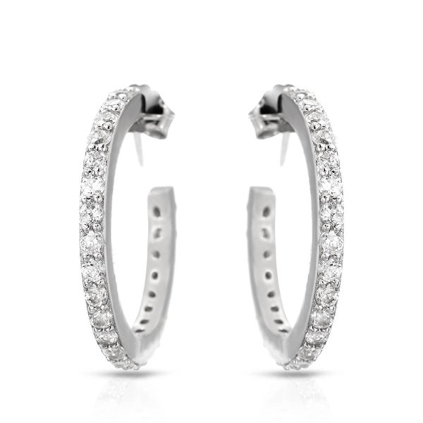 Mcs Jewelry Inc STERLING SILVER 925 SMALL HOOP EARRINGS WITH CUBIC ZIRCONIA 20MM