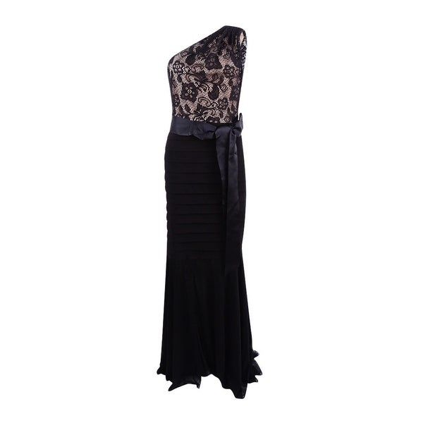 Betsy & Adam Women\'s Lace One-Shoulder Mermaid Gown - Black/nude ...