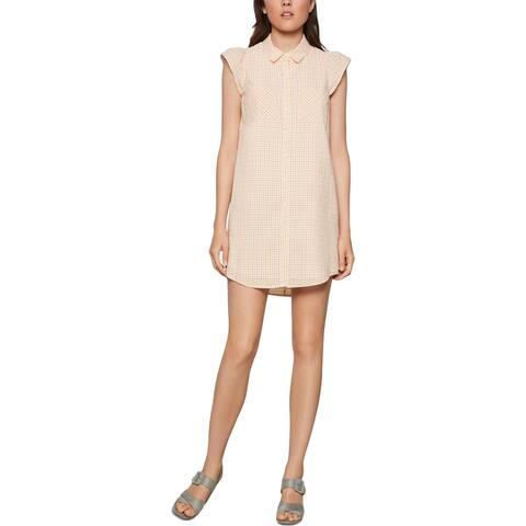 BCBG Max Azria Women's Plaid Print Cap Sleeve Mini Shirtdress - Pink/Yellow Multi