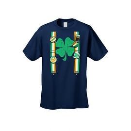 Men's Funny T-Shirt Irish Suspenders w/ Pins St. Patrick's Day Plush Ireland Pride