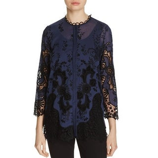 Elie Tahari Womens Dillon Dress Top Embroidered Three-Quarter Sleeve