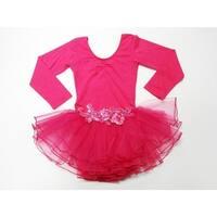 Hot Pink Glitter Rose Long Sleeve Tutu Ballet Dress Girl S-L