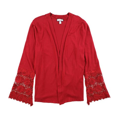 Charter Club Womens Lace Contrast Cardigan Sweater, red, Large