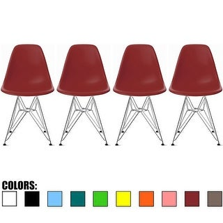 2xhome Set Of Four (4) - Eames Style Molded Bedroom & Dining Room Side Ray Chair with Wire Chrome Metal Eiffel Metal Leg Base