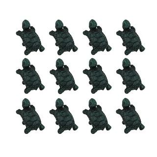 Set of 12 Distressed Verdigris Finish Cast Iron Turtle Drawer Pulls - 1.5 X 2 X 1.25 inches