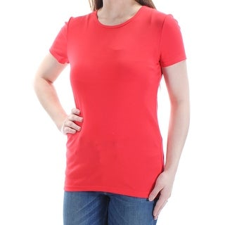 RALPH LAUREN Womens Red Short Sleeve Crew Neck Top Size: S