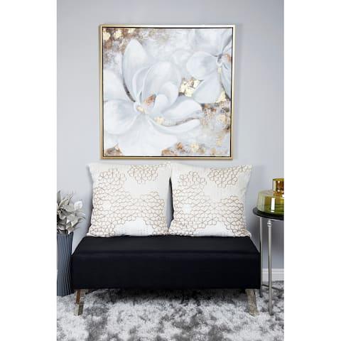 White Polystone Traditional Framed Wall Art 40 x 40 x 2 - 40 x 2 x 40