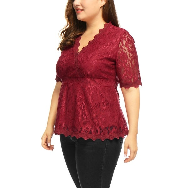 Womens Plus Size Floral Design Ladies Short Sleeve Lace Scallop Edge T-Shirt Top