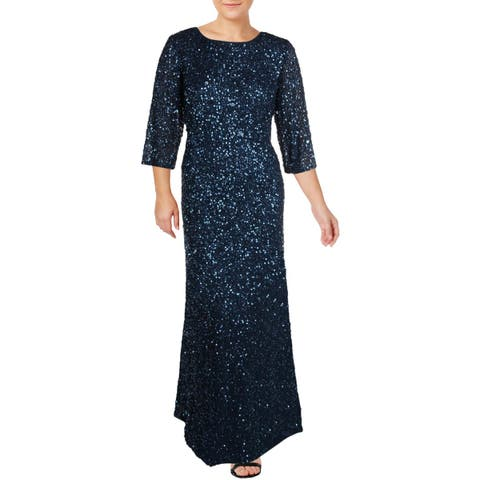 Adrianna Papell Womens Plus Evening Dress Sequined 3/4 Sleeves