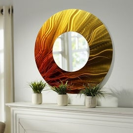 Statements2000 Gold/Orange Metal Wall Mirror Art Accent Decor by Jon Allen - Mirror 109 - Brown