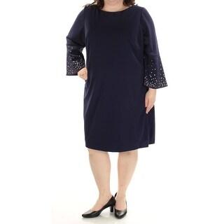 JESSICA HOWARD $99 Womens New 1580 Navy Eyelet Shift Dress 22W Plus B+B
