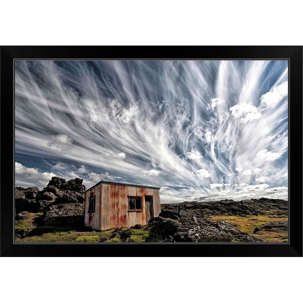 """Fluffy Sky"" Black Framed Print"