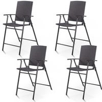 Costway 4 Pcs Folding Rattan Wicker Bar Stool Chair Indoor Outdoor Furniture Brown