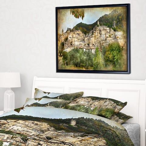 Designart 'Old Italian Villages' Landscape Photography Framed Canvas Art Print