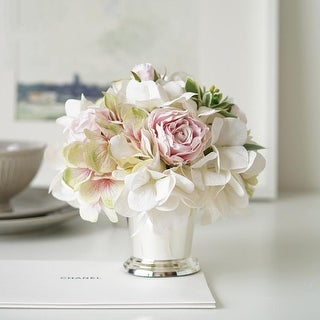 Mademoisell White Hydrangea Pink Rose Floral in Metal Vase
