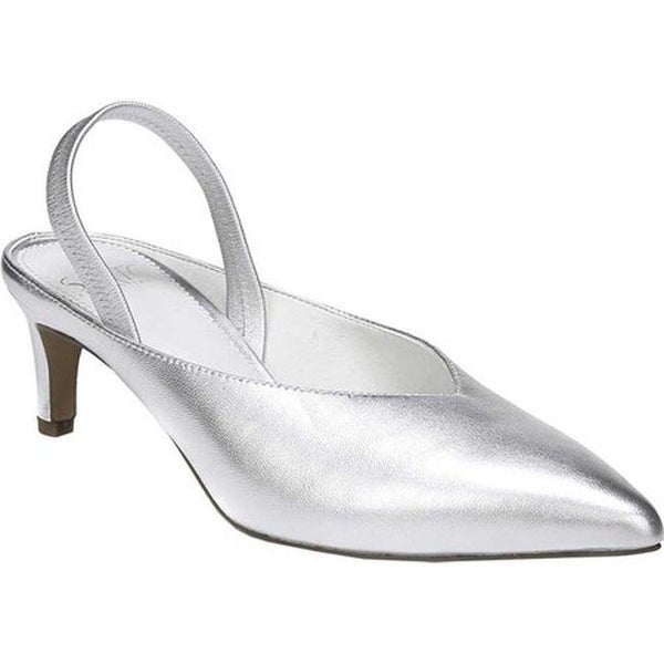 f1c51668dad Sarto by Franco Sarto Women  x27 s Mandalay Kitten Heel Slingback Silver  Metallic Leather