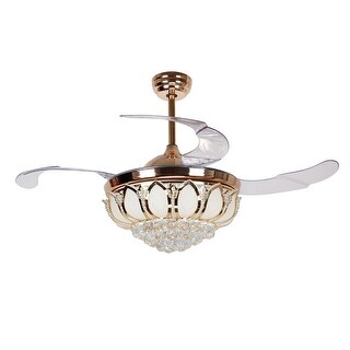 Modern 42.5-inch Retractable Blades Gold LED Crystal Ceiling Fan