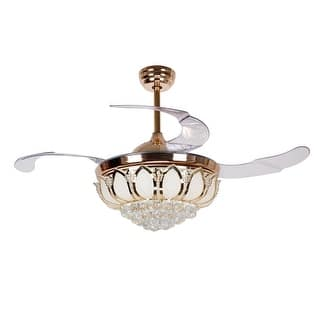 40 50 inches ceiling fans for less overstock modern 425 inch retractable blades gold led crystal ceiling fan aloadofball Images