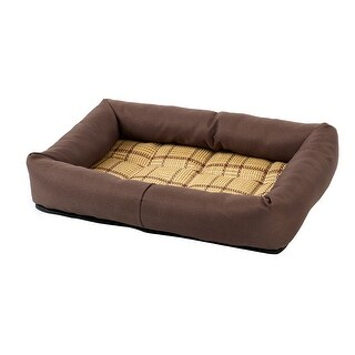 Pet Dog Cat Indoor Bamboo Carpet Summer Sleeping Bed Cushion (Coffee Color, S) - Coffee Color