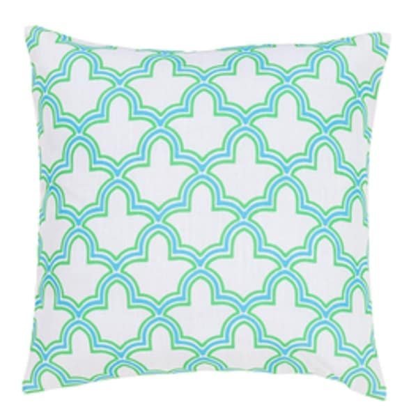 """22"""" Egyptian Magic Lily White, Sky Blue and Lime Green Decorative Throw Pillow"""