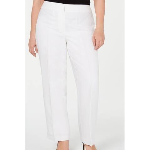 Nine West Women's Dress Pants Real White Size 16W Plus Linen Straight