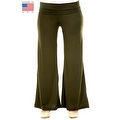 Plus Size Women's Olive Palazzo Pants Lose Fit Wide Leg Folding Waist Sexy Comfy - Thumbnail 0