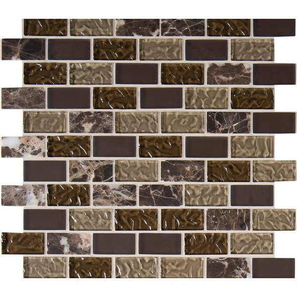 """MSI THDWG-SGL-SB-8MM 1"""" x 2"""" Brick Joint Mosaic Tile - Varied Glass and Stone Visual - Sold by Carton (10 SF/Carton)"""