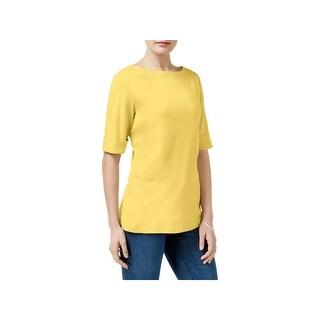 Karen Scott Womens Petites T-Shirt Knit Boat Neck - ps