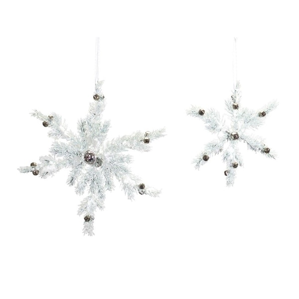 Set of 3 Sparkling White Christmas Pine Snowflake Ornament with Jingle Bells 19""