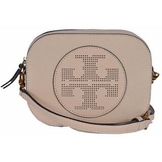Tory Burch Sand Dune Beige Round Perforated Logo Crossbody Purse Bag