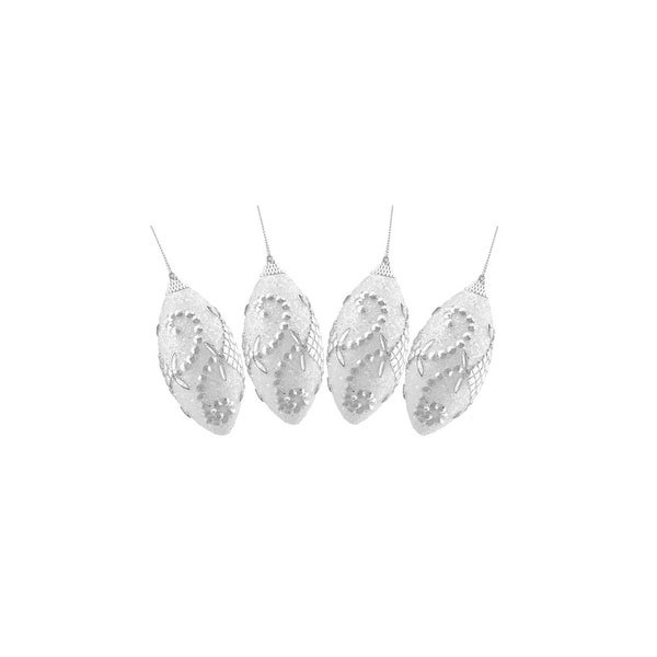 Set of 4 White and Silver Graceful Beaded Shatterproof Christmas Finial Ornaments 4.5""