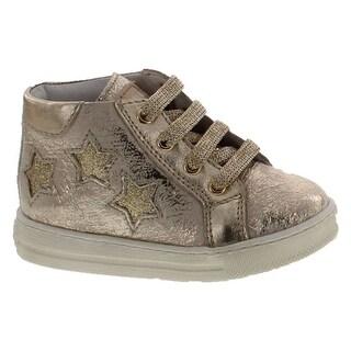 Naturino Girls Lyra Fashion Lace Up First Walker Sneaker Shoes - platino