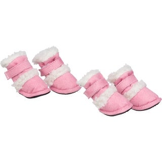 Shearling Duggz Pet Shoes, Pink & White, Large