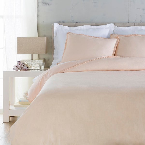 "86"" Lush Baby Pink Button Closure Duvet Cover for Twin Size Bed"