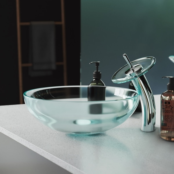 Cascade 16.5 Glass Vessel Sink with Faucet. Opens flyout.