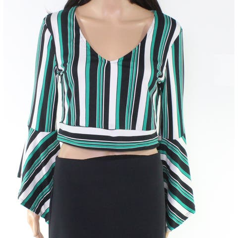 Polly & Esther Women's Green Size Large L Striped Cropped Tie Back Blouse