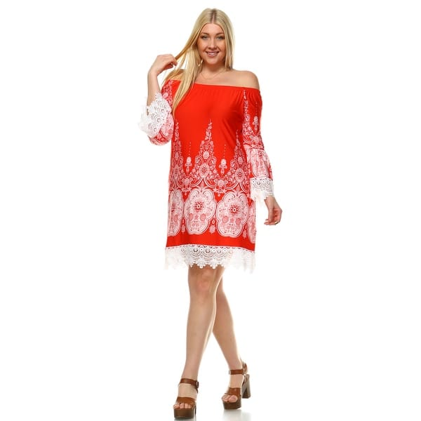 Shop Plus Size Mya Dress - Red & White - Free Shipping On ...