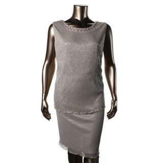 Jessica Howard Womens Plus Metallic Embellished Cocktail Dress