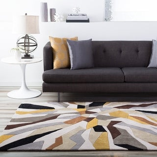 Hand-tufted Barnes Contemporary Abstract Round Area Rug