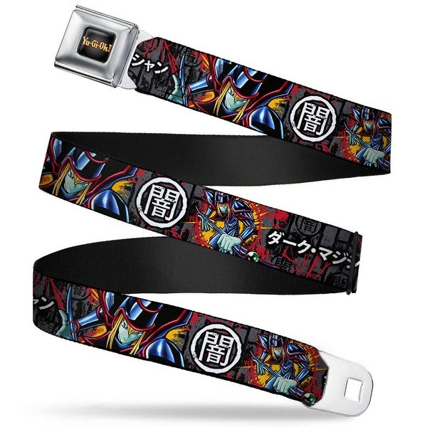 Yu Gi Oh! Logo Full Color Black Fade Gold Dark Magician Poses Dark Kanji Seatbelt Belt