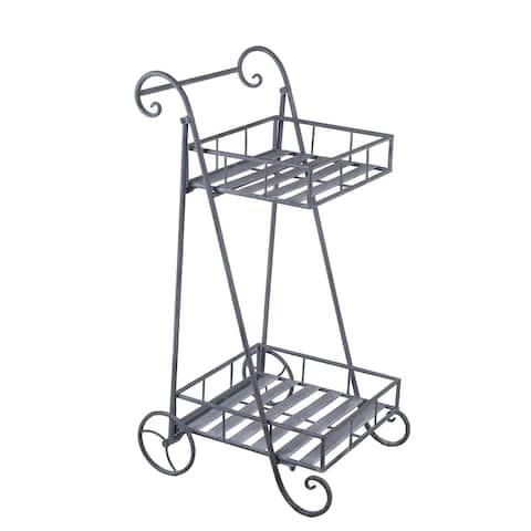 2-Tier Cart Gray Metal Planter