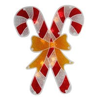 "12"" Lighted Holographic Candy Cane Christmas Window Silhouette"