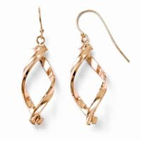 Italian 10k and Rose Gold Polished Dangle Earrings