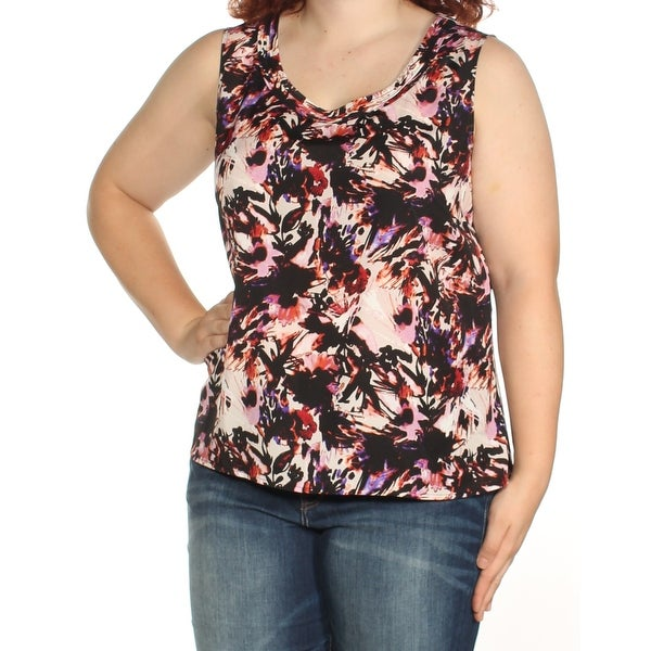 49d5623885395e Shop Womens Purple Black Floral Sleeveless Scoop Neck Wear To Work Top Size  1X - On Sale - Free Shipping On Orders Over  45 - Overstock.com - 23451631