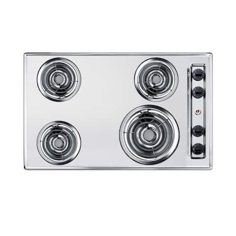 "Summit ZEL05 30"" Wide 4 Burner Electric Cooktop - - Chrome"